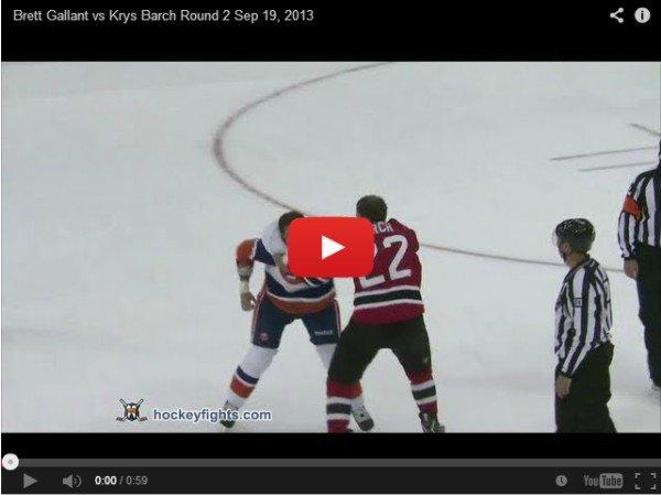 Brett Gallant VS Krys Barch  - хоккейная драка