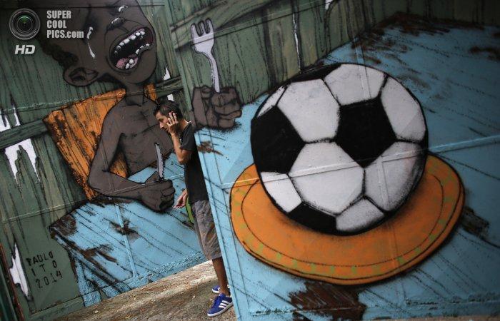 Бразильское граффити с ЧМ по футболу 2014