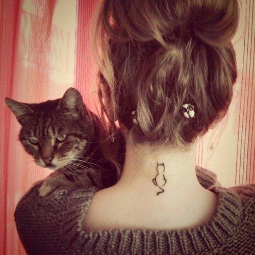 """Татуировки кошек в стиле """"минимализм"""""""