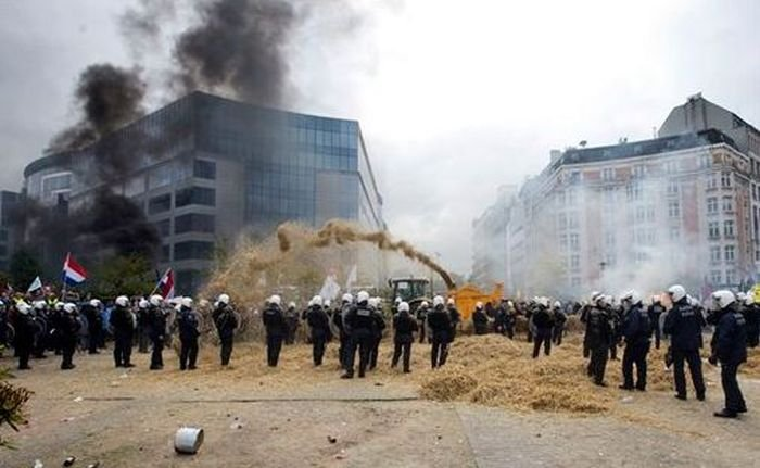 Протест фермеров в Брюсселе