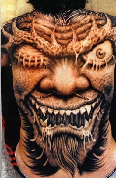 Реалистичные татуировки во всю спину. Красивые фото