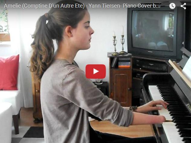 Удивительная девочка игрет на пианино без пальцев