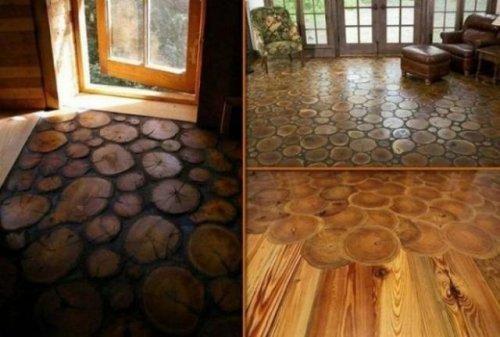 Необычный деревянный пол. Сделано своими руками