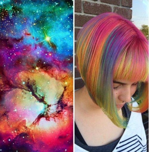 Новинки моды: волосы цвета галактики