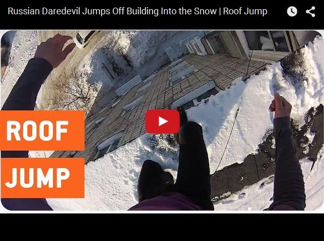 Безбашенные люди - прыжок с девятого этажа в сугроб