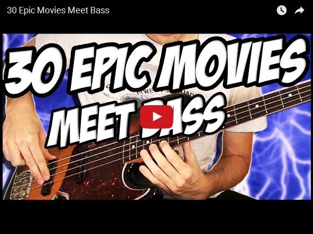 Чувак прикольно исполняет на бас-гитаре темы из фильмов