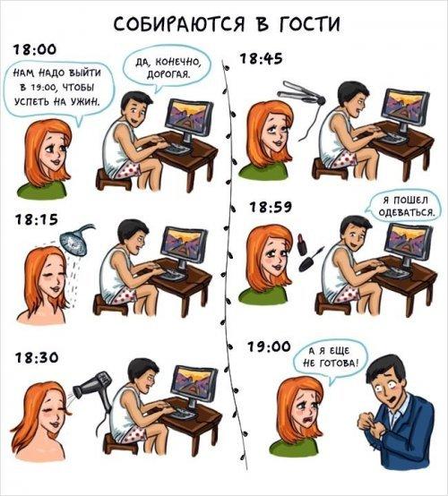 Разница между мужчинами и женщинами. Весёлые картинки