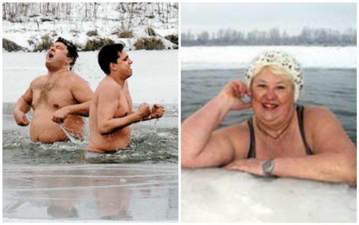 Зимние забавы в проруби