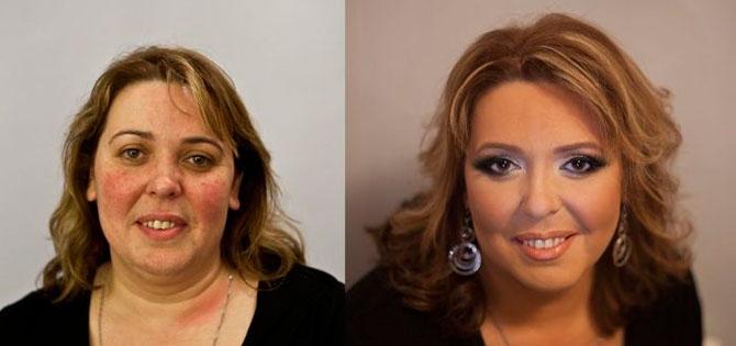 До и после - чудеса макияжа