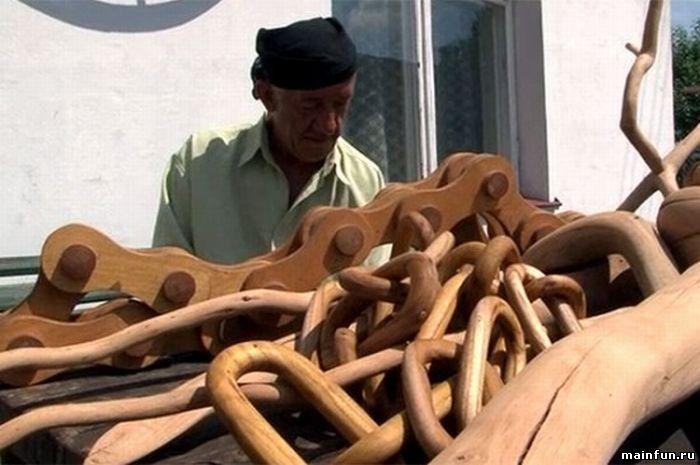 А вы видели деревянный велосипед?