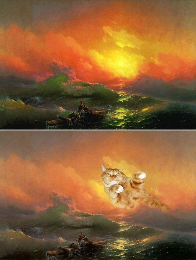 Ремиксы известных картин на кошачью тему