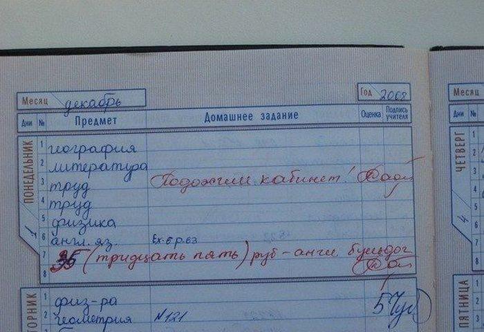 Ржачные выдержки из школьных дневников и объяснительных