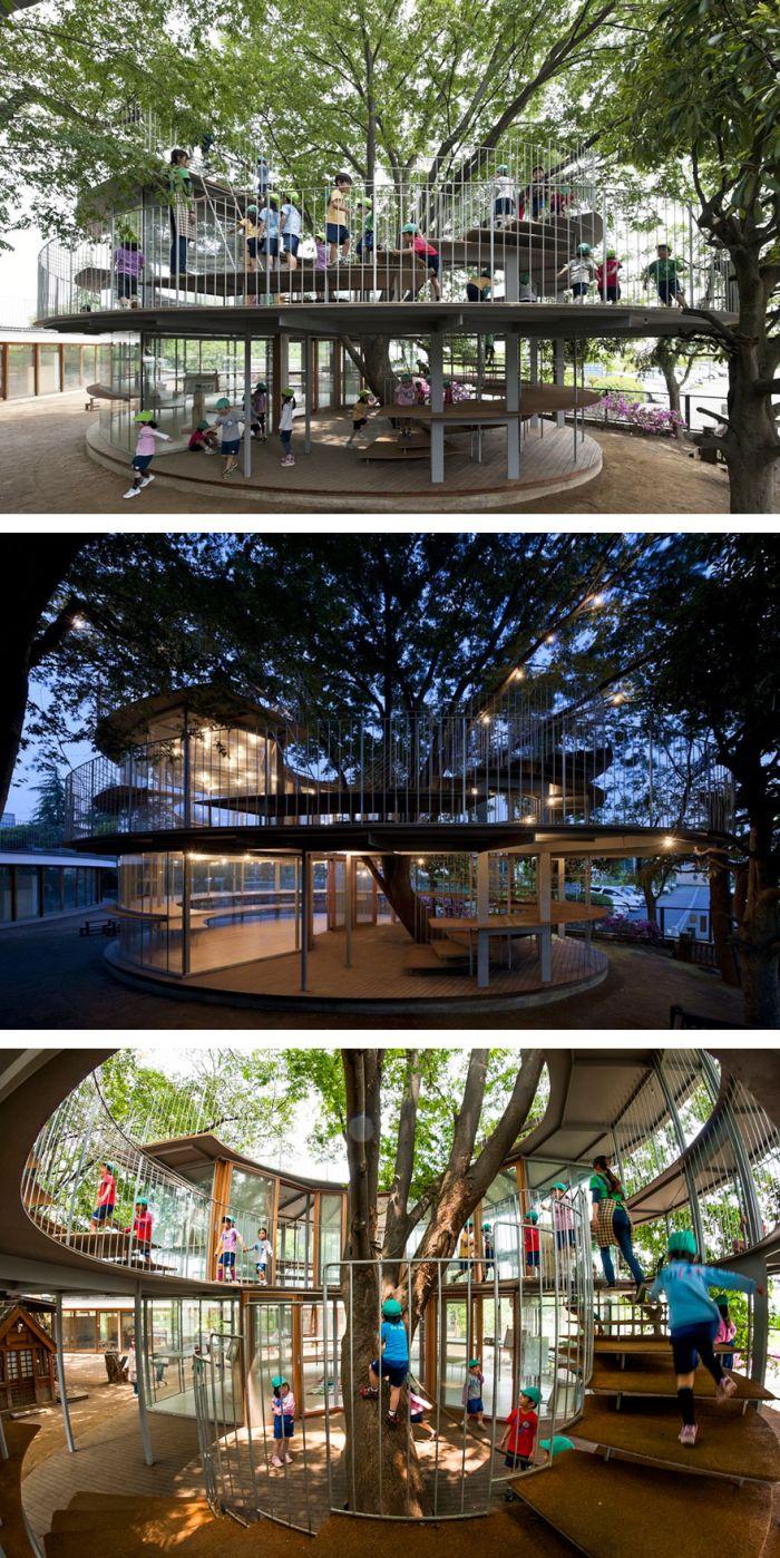 Необычные решения - живые деревья в интерьере