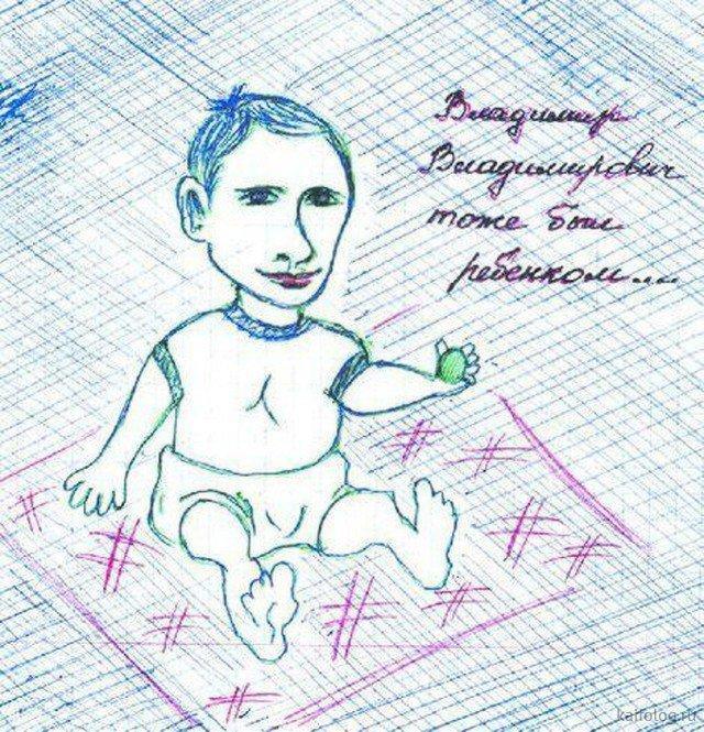 Владимир Путин глазами детей. Прикольные рисунки