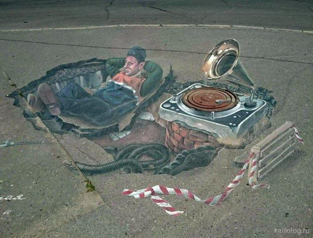 Подборка прикольных рисунков на асфальте